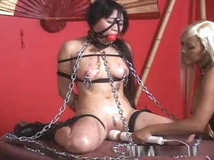 Lesbian Mistress Plays With Her Asian Bondage Sex Slave