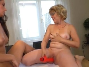 Oldnanny Teen With Granny Uses Vibrator On The Table