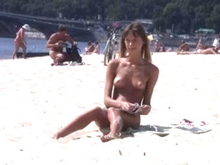 Nudist Girl Not Shy About Posing Nude At The Beach