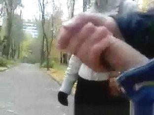 Groper Jerking Off In Front Of A Walking Woman