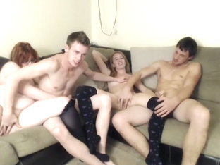 Fat Redhead And Skinny Blonde Have A Foursome