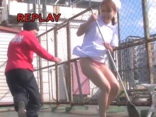 Kinky Man Sharking Japanese Girl Sweeping The Ground