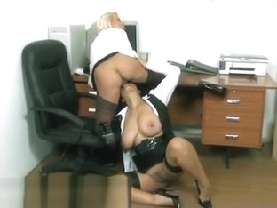 Secretary Lesbians Dildo Action With Wide Belt