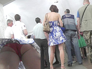 Red Classic Panties Caught On The Spy Upskirt Camera