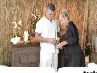 Muscular Masseur Fucks Blond Slut On Massage Table