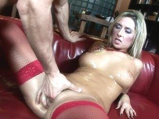 Breasty Daria Glower In Red Nylons