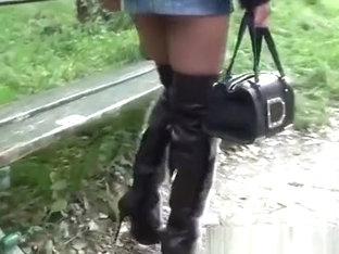 Shortest Microskirt And Furfetish Overknee Boots