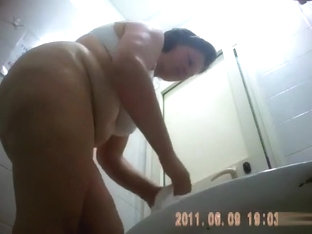 Fat Girl Strips Nearly Naked To Take A Piss