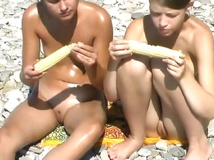 Teen Girls Playing On A Nude Beach