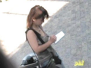 Noisy Nerdy Oriental Angel Flashes Her Boobies When Some Sharking Guy Lifts Her Shirt