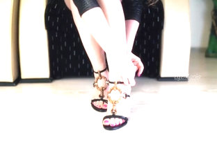 Teen Wearing High Heels Sandals In Slow Motion Hd