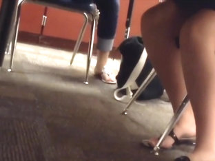 Candid Teacher Shoeplay In Flip Flops