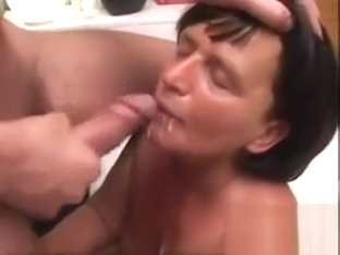 Skinny Mature Slut Loves Sucking Two