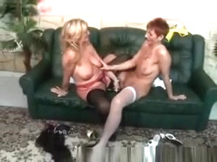 2 Naughty Grannies Go Nasty With A Huge Double Dildo