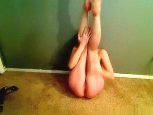 Horny Brunette Girl Strips, Dances And Masturbates In Her Bedroom
