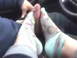 Amazing Toejob In Car With Socks