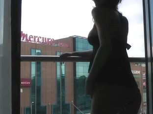 Showing Tits And Gaping Arsehole On Balcony To Public