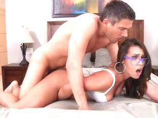 Kelsi Monroe Poses And Eats His Cock, Then Comes In To Get Royally Fucked