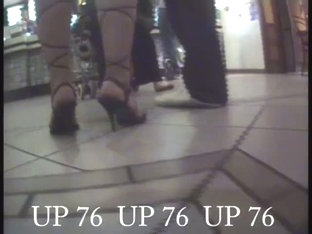 Blonde Girl In A Pretty White Dress And Heels Upskirt Video