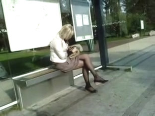 Pantyhose At Stop Bus 03