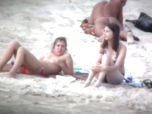 Beach Spy Voyeur Captures Two Friends Sunbathing Topless