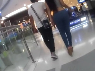Long Hair Brunette With Big Booty In Tight Pants