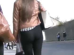 Candid Teen Ass In Black Leggings