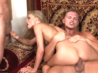 Elegant Blonde With Sexy Long Legs Cayenne Klein Gets Double Stuffed