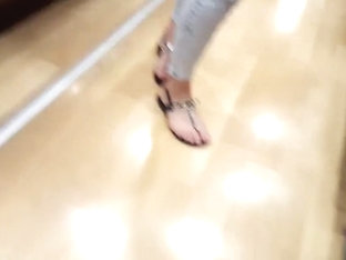 Girls Sexy Legs Long Feets Hot Toes At Shopping