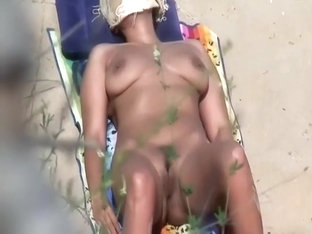 Naked Muscular Girl Spied On A Beach