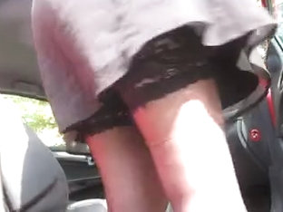 Stockings Upskirt In A Car