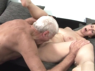 Busty Brunette Teen Gets Her Twat Eaten Out And Fucked By An Old Man