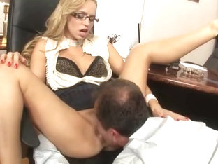 Cute  Blonde  Hungarian Shows  Office Skills In An Interview