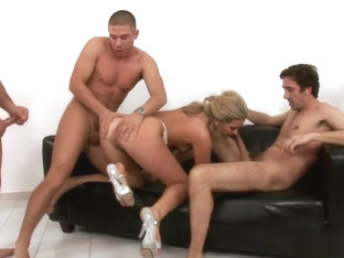 Slutty Blonde Cherry Gets Pounded Rough And Deep By Three Hung Guys