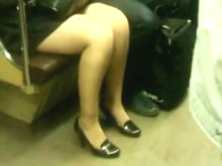 Candid Legs In Subway
