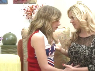 Blonde Cheerleader Tempts A Stunning Milf