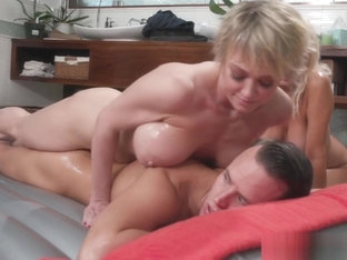 Busty Blonde Bitch And Stepmom Shake One Cock