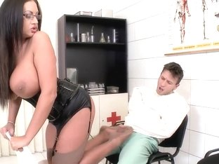 Huge Brunette Bitch Emma Butt Is Wearing Sexy Leather Corset And High Heel Shoe And Scoffing On He.