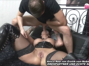 Nasty Tattoo German MILF With Huge Silicone Tits Fuck Threesome