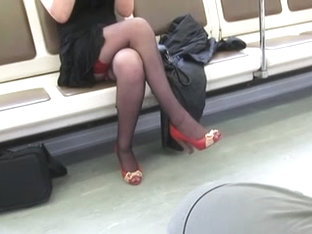 Black Stockings With Red Tops In Train