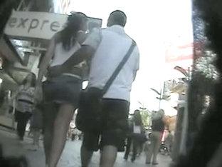 Hot, Luring Asses In An Upskirt Thong Video