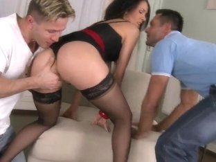 Delicious Brunette Samia Duarte Gets A Wonderful Adventure With Two Hot Cocks