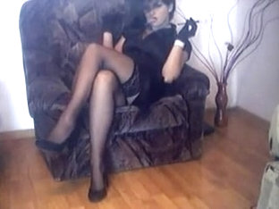Wife In Nylon Stockings And High Heels Crossing Legs