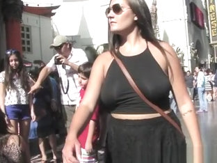 Upskirt And No Bra Dress Woman