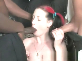 Nasty Girl With Pigtails Betty Has A Group Of Guys Punishing Her Holes