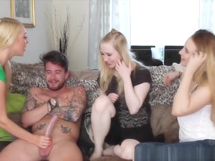 Cfnm Babe Sharing Lucky Cock With Friends