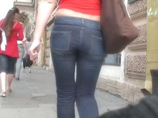 Tight Street Jeans Blonde Gets Followed By A Voyeur