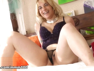 Lady Athena In Hot Mature Blonde Lady Athena Dancing And Stripping In The Bedroom  - Mmm100