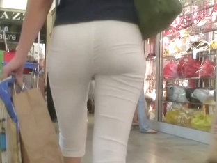 Hot Tight And White Pants Girl In A Supermarket Voyeur Video