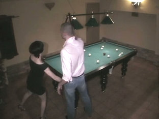 Gal On Billiard Table